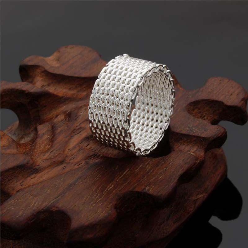 L'anello d'argento sterling di modo caldo della vendita della rete, anelli di banda del tessuto di Rrings dell'argento delle donne 925 libera il trasporto
