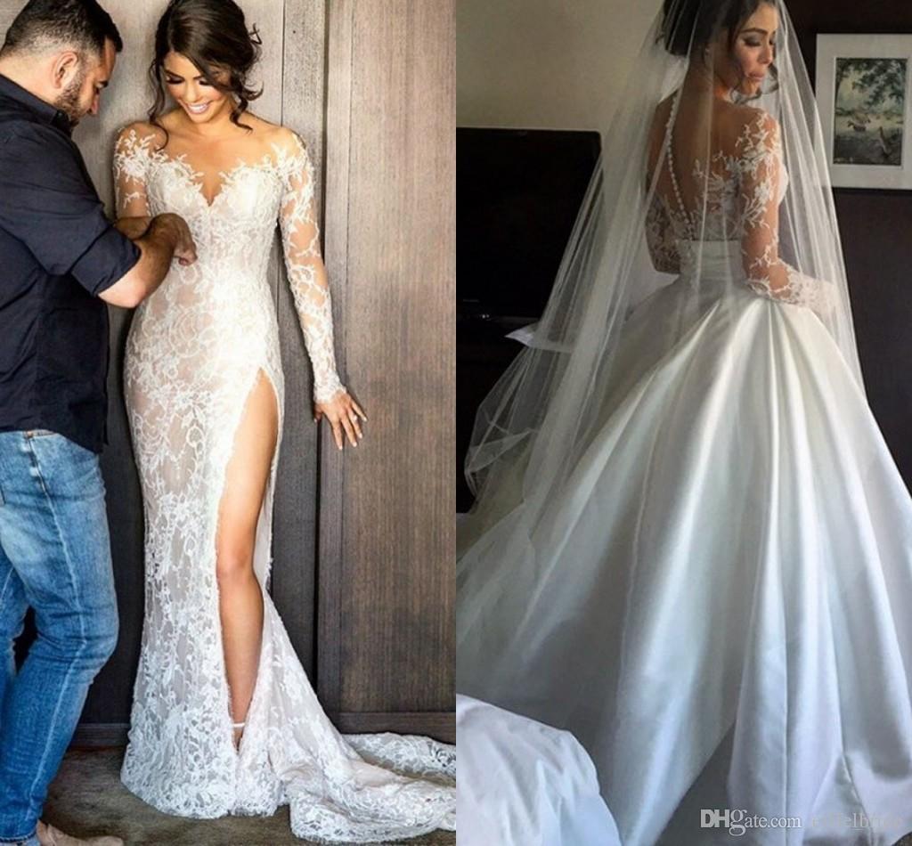 2016 Vintage Suknie ślubne z odpinaną spódnicą Sexy Sheer Lace Aplikacja Jewel Illusion Długie rękawy Wysokie szczeliny Overtkirts Suknie Ślubne