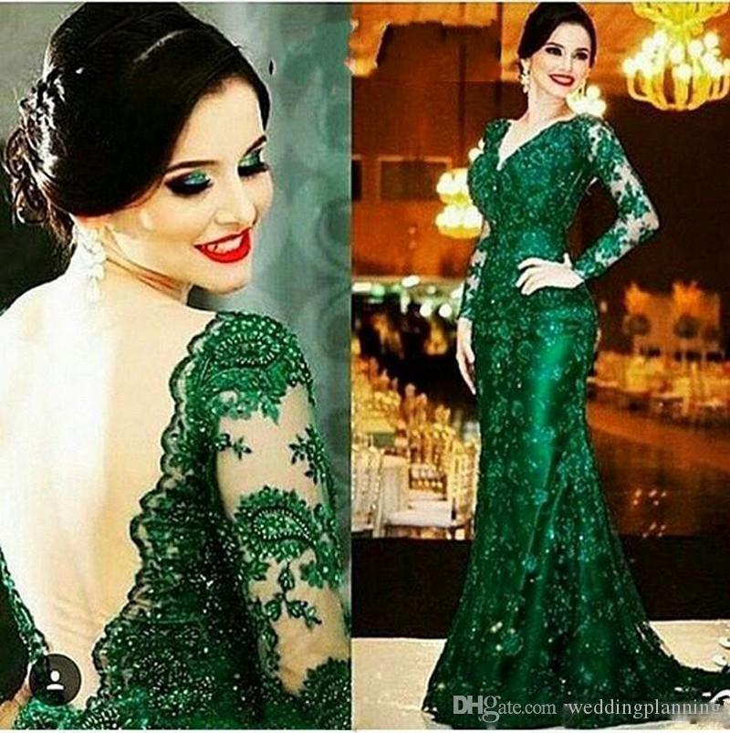 2017 Autumn Dark Green Mermaid Prom Dress Plunging With Applique Sequins Dresses Backless Long Illusion Sleeves Lace Party Gowns Custom Made