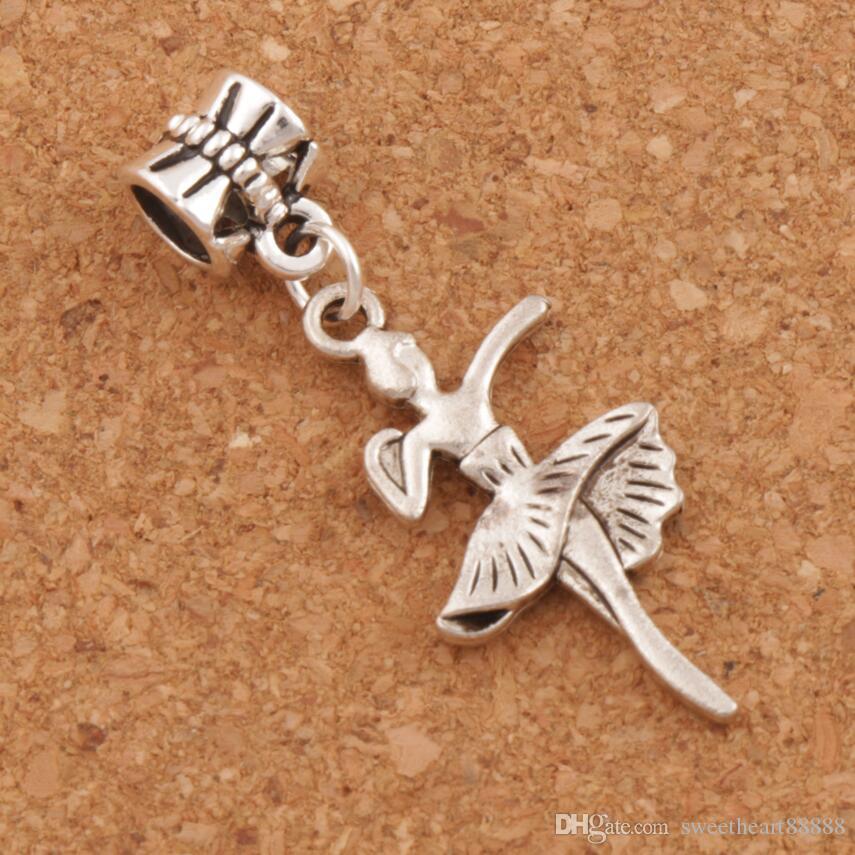 Mooi dansen meisje grote gat kralen 100 stks / partij 38.4x14.7mm antiek zilver fit Europese charme armbanden sieraden DIY B1147