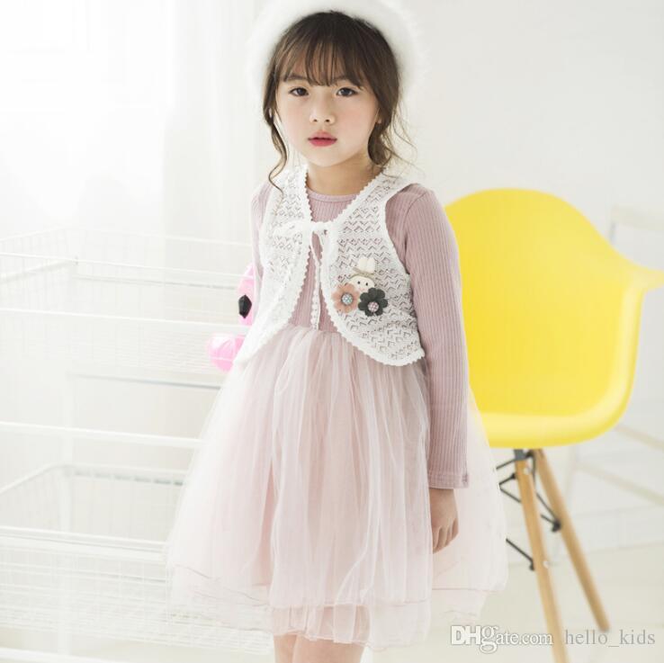 Baby barnkläder god kvalitet höst nya tjejer tecknad spets väst + långärmad klänning 2 stycke uppsättningar kläder uppsättningar