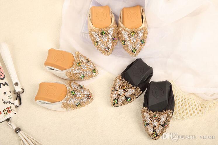 Luxo Rhinestone Ballet Flat Shoes borboleta Outono Mulheres Primavera Toe pontas Golden Shoes preguiçosos Plus Size 35-43 467