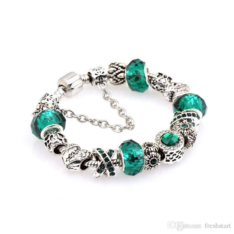 charm bracelets 2017 new arrival DIY jewelry charm Bracelets & Bangles for women gifts Green European Crystal Beads bracelet
