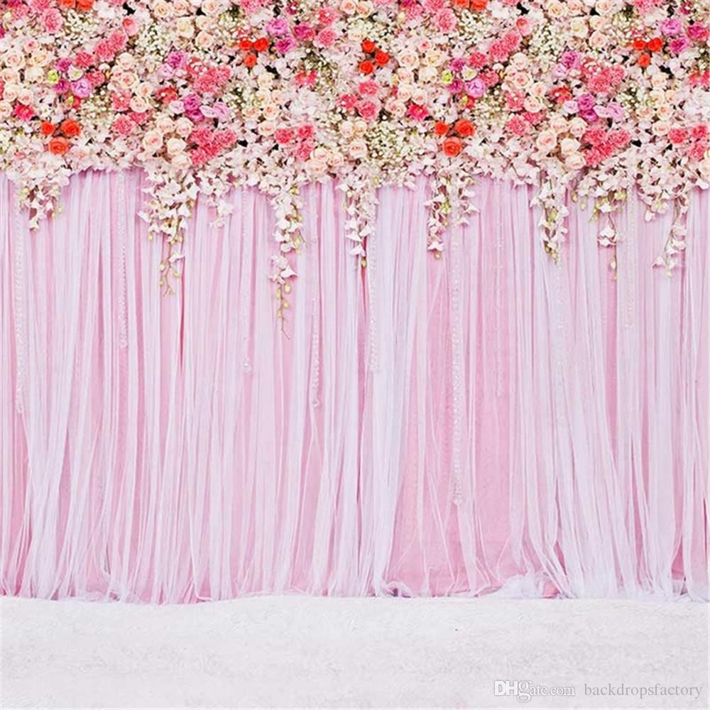 2019 Digital Printed Colorful Roses Pink Curtain Wall Wedding Floral Photography Backdrops Romantic Valentines Day Party Photo Booth Backgrounds From