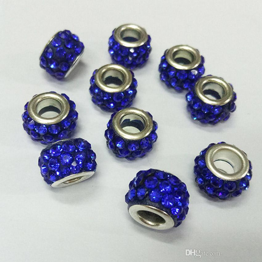Diy cuentas de arcilla cristalina Spacer Charms Beads Fit estilo Pandora Europea Crystal Charm Bracelet Bangle collares de moda las mujeres joyería
