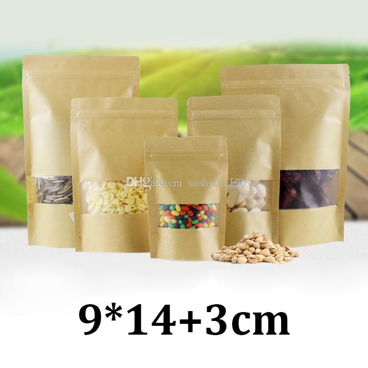 9x14cm frosted transparent plastic window resealabel zipper stand up zipper gift tea packaging bag with window