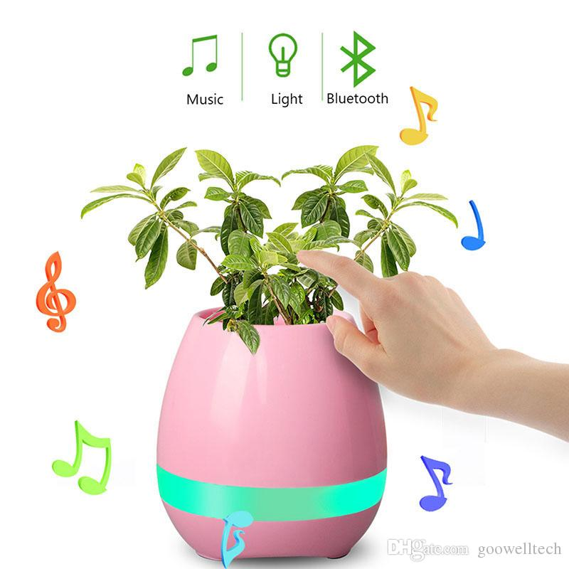 2017 New Funny Cool Gadget Smart Bluetooth Speaker Music flower pot touch swift with night LED light Music Flower Pots for Home Office