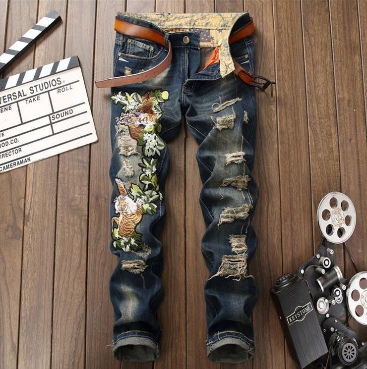 Homens Tigre Bordado Calça Jeans Flor Patch Design Homens Reta Jeans Rasgado Jeans # 0795