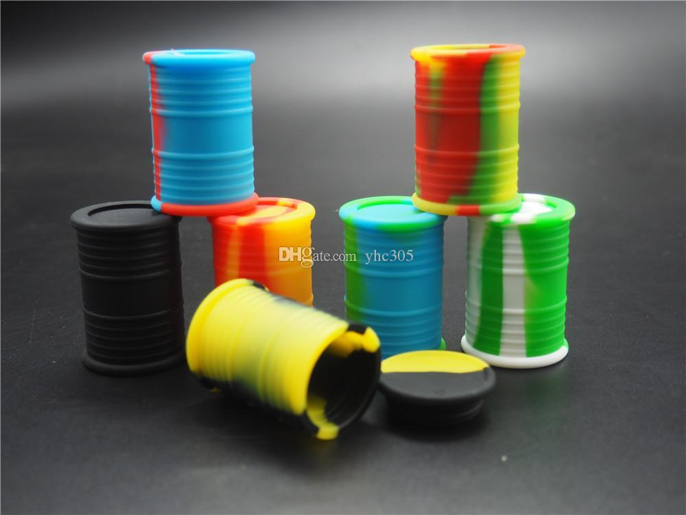 1000 X vente chaude Silicone Oil Drum Barrel Container Contenants en silicone antiadhésif Dab Wax vaporisateur Container d'huile 9 ml