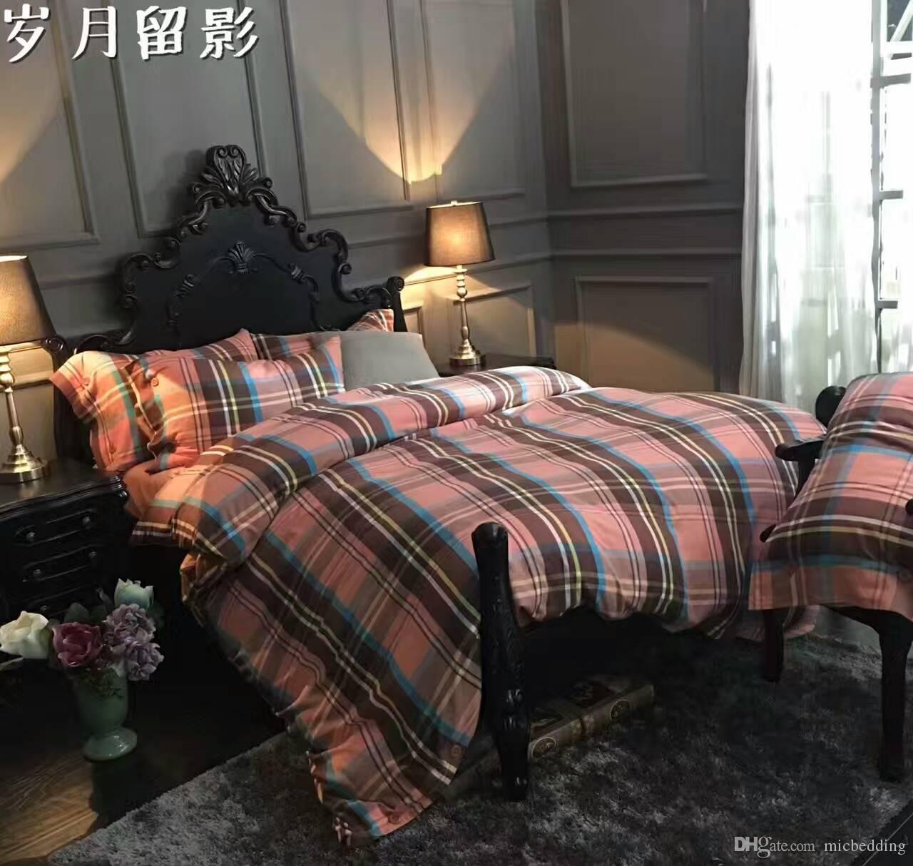 cotton yarn-dyed flannelette fabric bedding set hometextile buttons opening queen and king size four pieces per set strip designs 160003