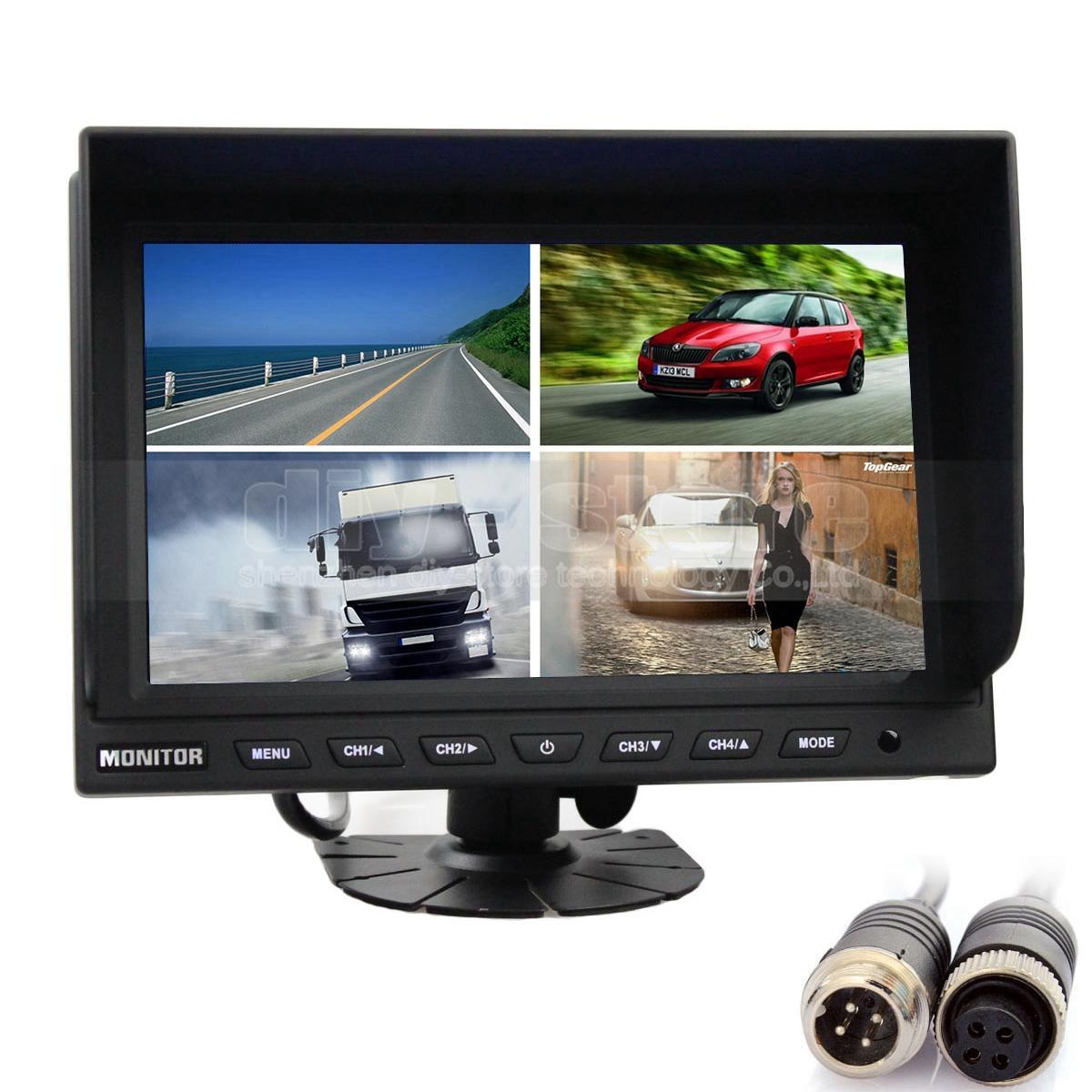 DIYKIT Rear View Montior Car Montior 4CH 4-PIN 9 Inch 4 Split Quad LCD Screen Display 12V - 24V DC