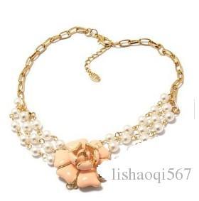 pérola rosa chá flowert pingente de ouro cadeia r colar da senhora (xysppfh) hukh