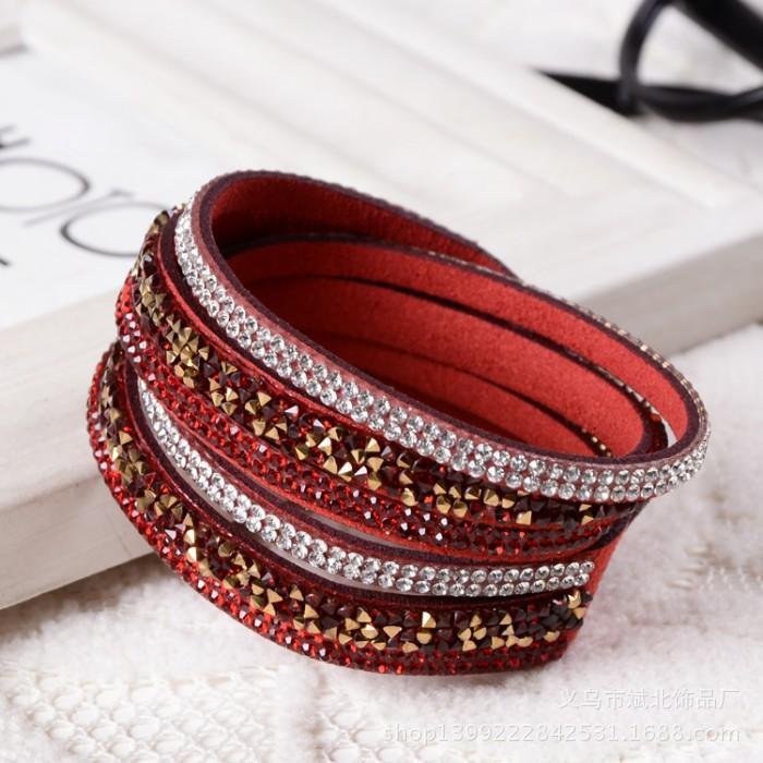 Bracciali in pelle nuovo modo 6 strati Wrap Bracciali Slake per le donne con i cristalli a mano strass catena paio gioielli