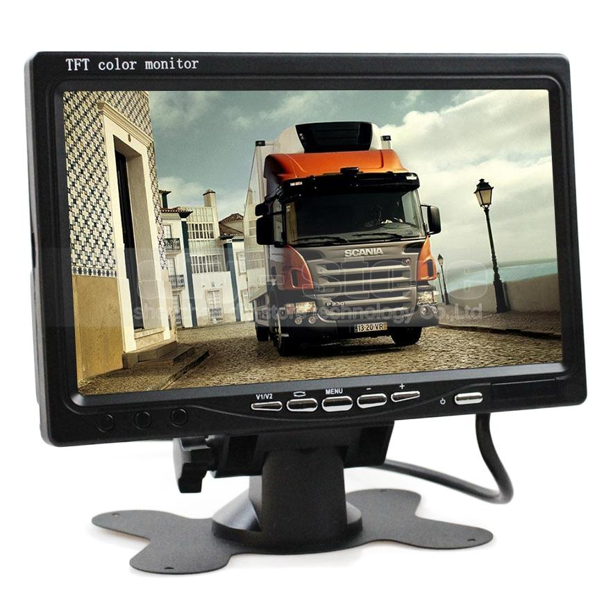7inch TFT LCD Car Reverse Rear View Monitor with Video / Audio Input Remote Control DVD VCR DC12V-24V