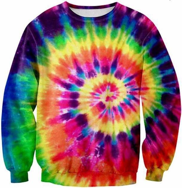 Wholesale-2015 women/men 3d sweatshirt printed Tie Dye Tie galaxy hip hop sweatshirts harajuku pullover hoodies magic clothes tops funny