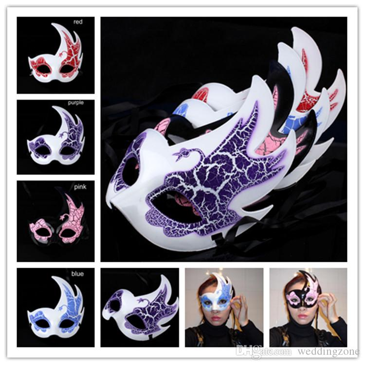 Venetian Masquerade Party Mask Children's Mask Peacock Crackle Flame Mask For Party Halloween For Free Shipping