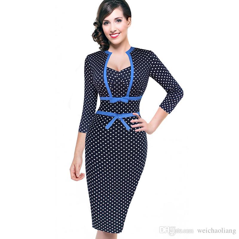LCW donne di nuovo disegno annata Rockabilly Pois Bowknot Pinup tunica Slim Business Casual partito aderente Vestito su misura guaina