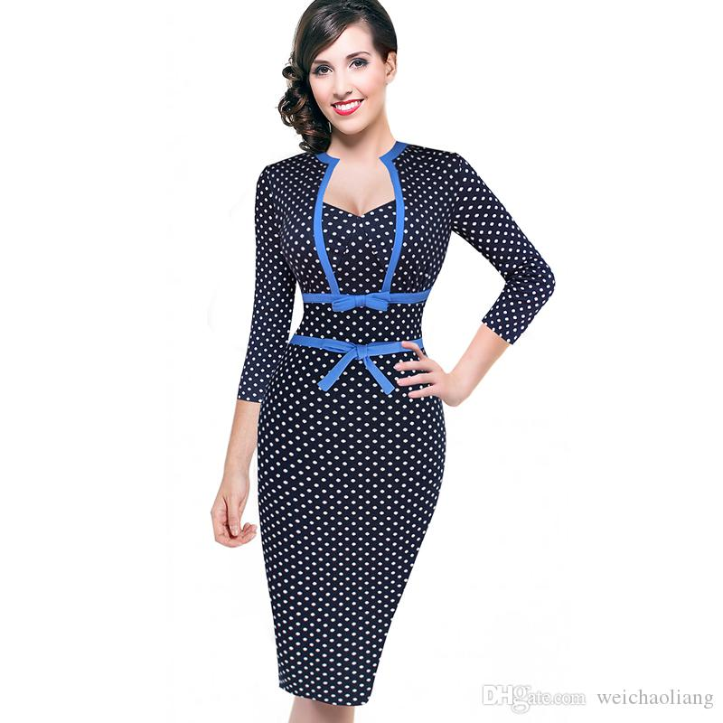 Lcw New Design Women Vintage Rockabilly Polka Dot Bowknot Pinup Tunic Slim Business Casual Party Bodycon Fitted Sheath Dress