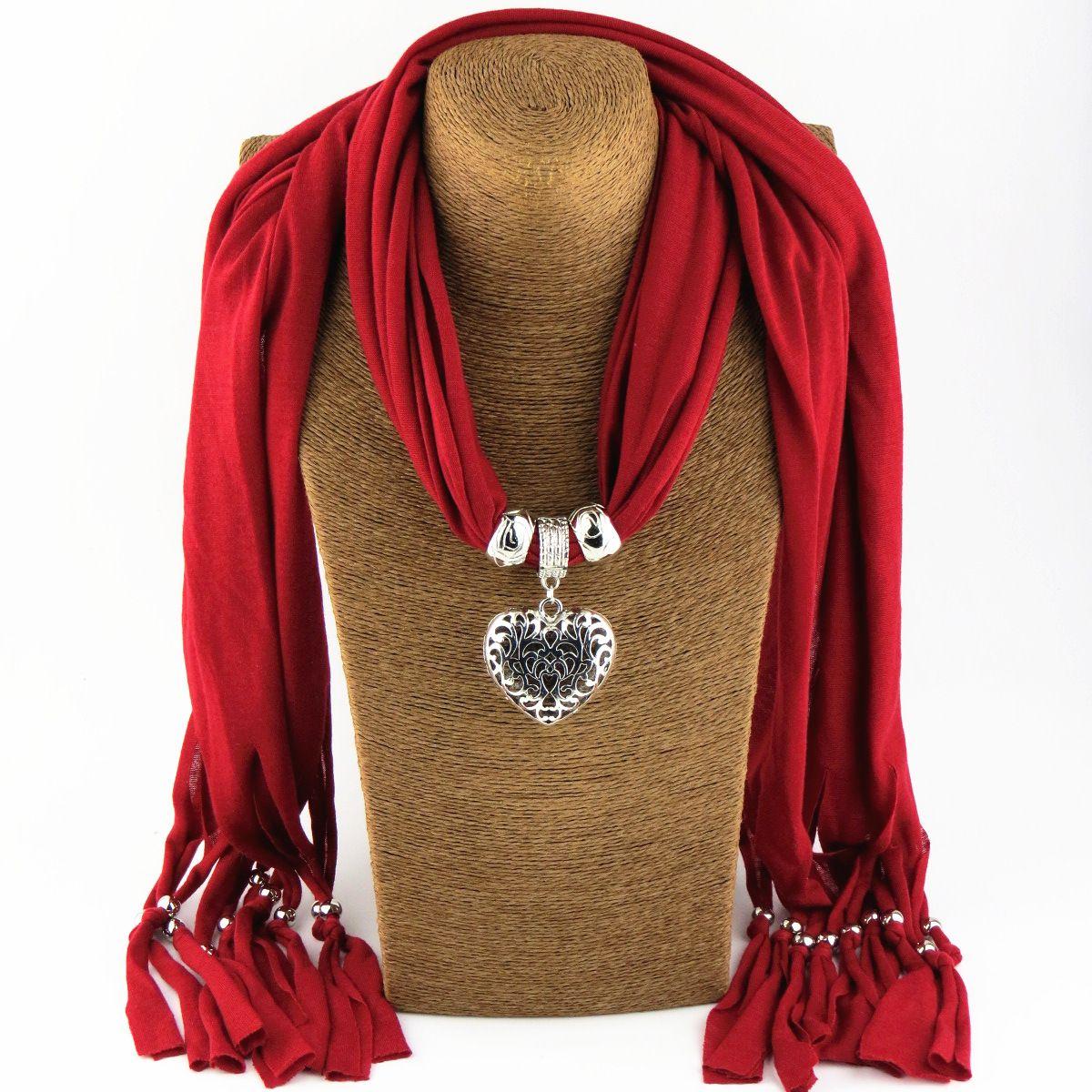 스카프 쥬얼리 펜던트의 매력 목걸이 스카프 패션 여자들의 부드러운 스카프 쥬얼리 믹스 컬러