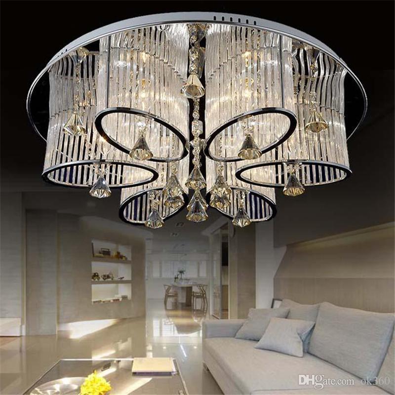 Moderna Sala de estar Luminária de Teto K9 Iluminação Lustre de Cristal Luminária de Cristal de Teto Lâmpadas de Luz do Candelabro