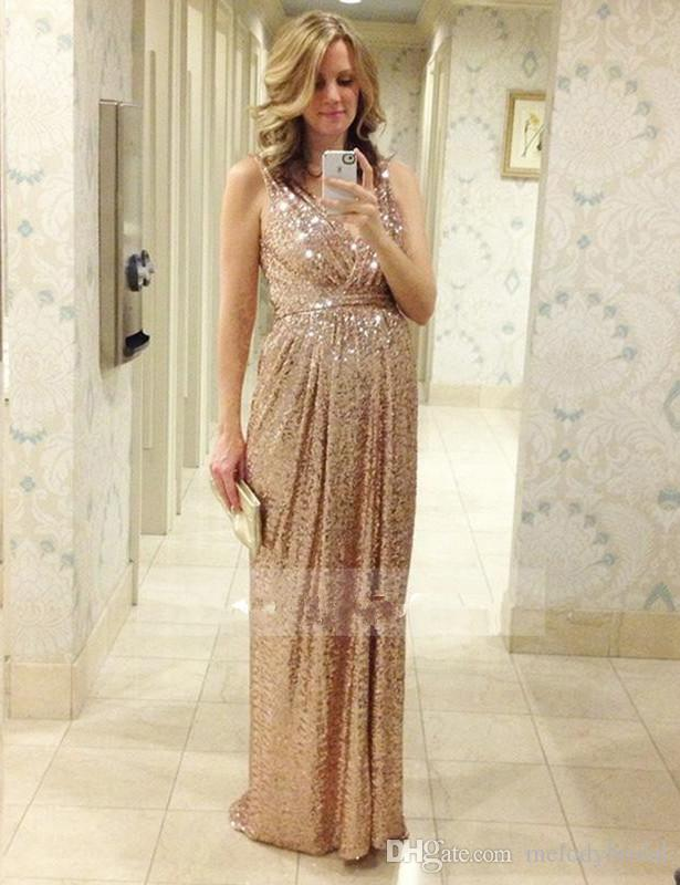 Wedding Prom Long Gowns Plus Size Elegant Champagne Rose Gold Bridesmaid  Dress 2017 Sequins Bling Gold Evening Dress Formal Party Gowns Gowns Long  ...