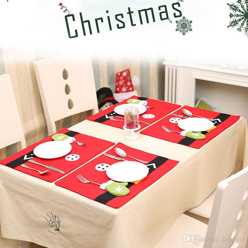 "Christmas Table Mats with Flatware Holder Bag Placemats Napkins Cloth Decor Cover for Kitchen Holiday Party Home 17.7""x13"""