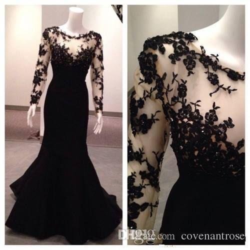 Real Picture Black Evening Dresses Long Sleeve Lace Illusion Prom Gowns Scoop Custom Made Special Occasion Dresses for Women