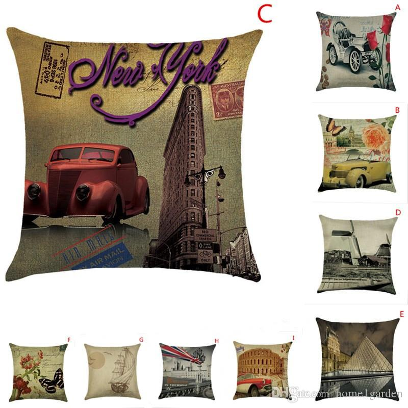 Cotton Pillow Cover Vintage Car Style Pattern Cushion Cover Home Decorative Cool Pillow Case 18''*18''
