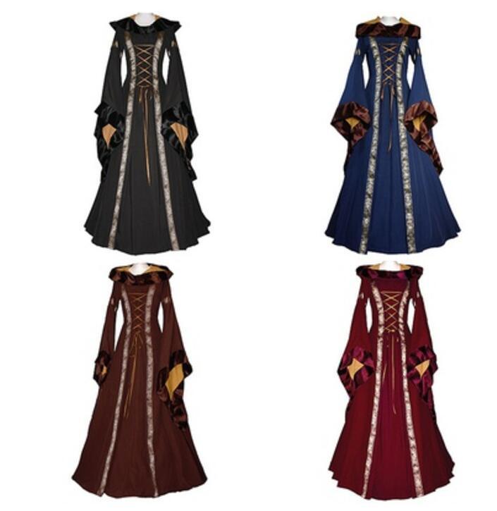 Kleid Länge Großhandel Vintage Gothic Stil Stock Lange Kleid 4 Heyan011729 Frauen Retro Farben 32 Cosplay XXL S Mittelalter Von Auf Kleider W9HEDIY2