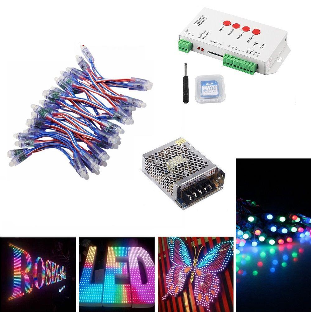 (500 قطع 1000 قطع) WS2811 led بكسل وحدات مجموعة dc 5 فولت 12 ملليمتر ip68 rgb منتشر عنونة + T1000S تحكم + محول الطاقة