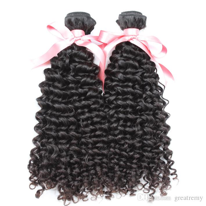 """100% Brazilian Human Hair Weave 8""""~30"""" 2PCS Sell Unprocessed Remy Hair Greatremy Natural Color Dyeable Curly Wave Double Weft Extensions"""