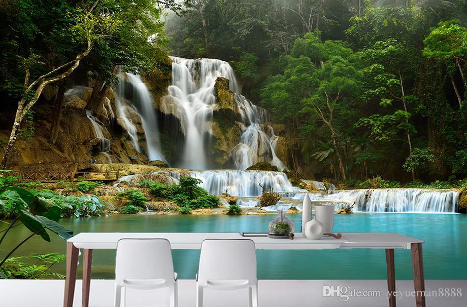 3d Mural Wallpaper Forest Waterfall Tv Wall 3d Landscape Wall