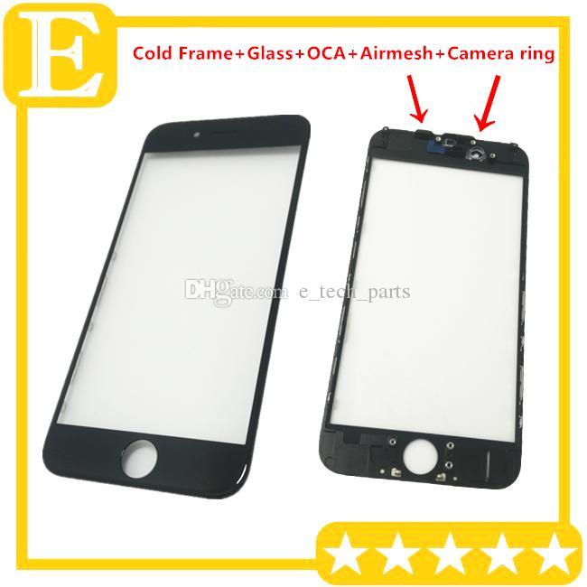 Soğuk Pres Tutkal Çerçeve + Cam Lens ile OCA Filmi + airmesh + kamera sensörü halka iPhone 5 5 S 5C 6 için önceden yüklenmiş