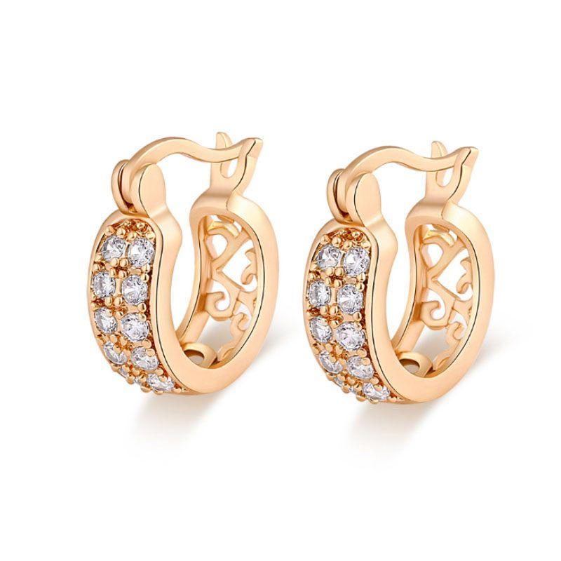 Fashion Women Gold Plated Crystal Rhinestone Small Hoop Earrings