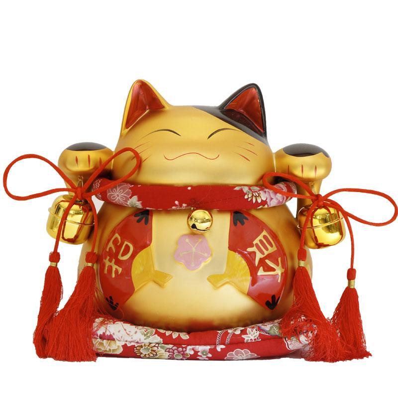 Il gatto del ventaglio rosso giapponese di Matt Zhaocai grande gatto giapponese ornamenti grande apertura del barattolo / regalo di nozze