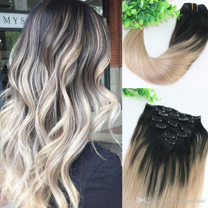 8a 120gram Clip In Human Hair Extensions Ombre Dark Natural Root To Ash Blonde Balayage Highlights Hairstyle Best Hair Weaves Best Human Hair For