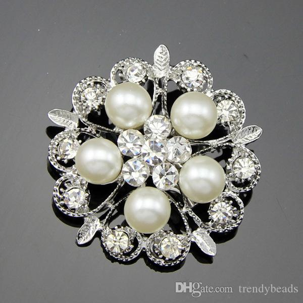 Rhinestone Brooch Pearl Crystal Brooch Bridal Brooch Bouquet Hair Comb Shoe Clip Wedding Cake Invitation DIY Supply