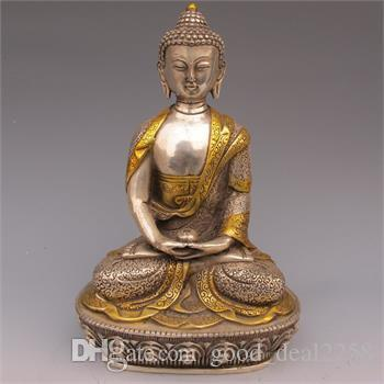 Statua di buddismo tibetano dorato in rame dorato tibetano - Buddha Sakyamuni