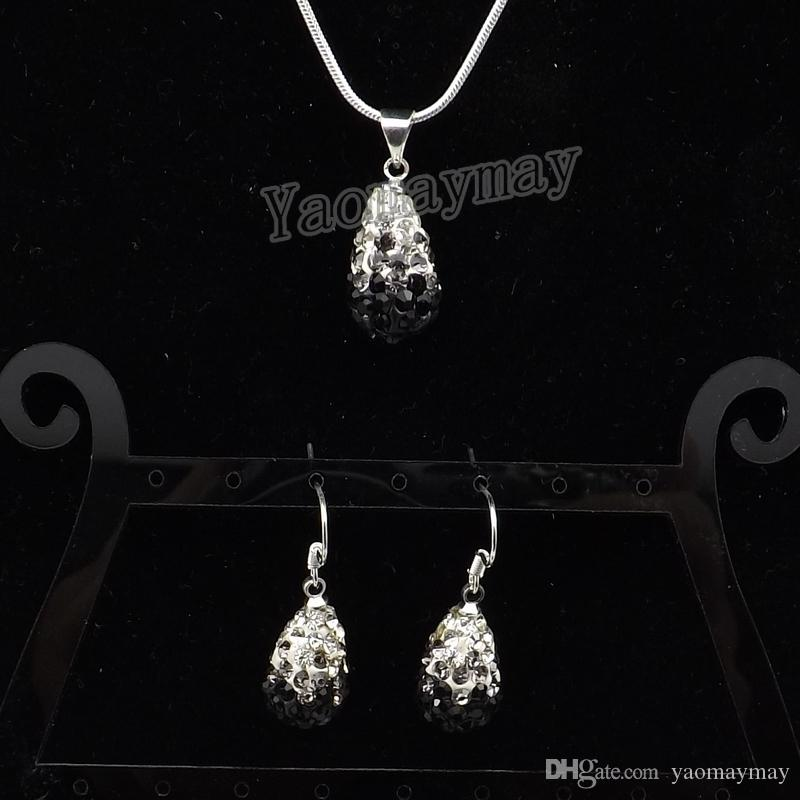 Waterdrop Shape Rhinestone Jewelry Set Gradient Colors Earrings And Necklace For Women 5 Sets Wholesale