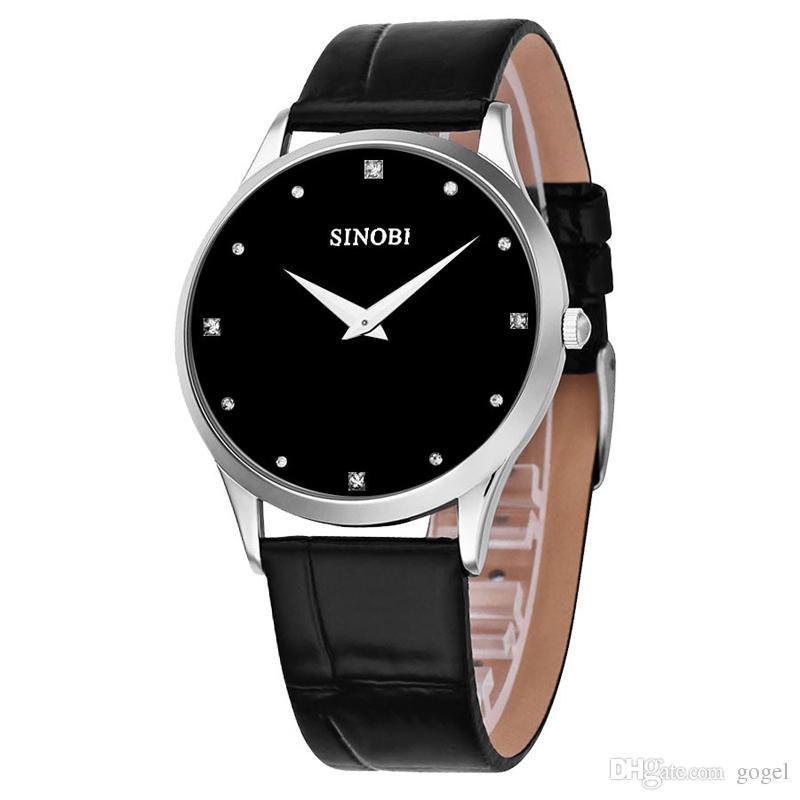 Nouveau mode montres classique SINOBI bracelet en cuir hommes et femmes mode style quartz militaire montre-bracelet mince