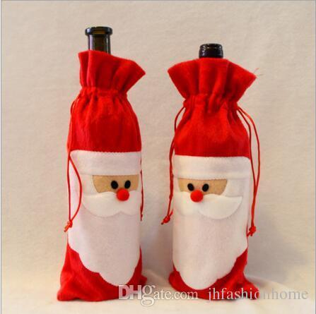 تزيين عيد الميلاد لزجاجة نبيذ أحمر سانتا كلوز الهدايا حقيبة الشمبانيا حقيبة عيد الميلاد حزب زينة DIY للمنزل فندق في أي مكان