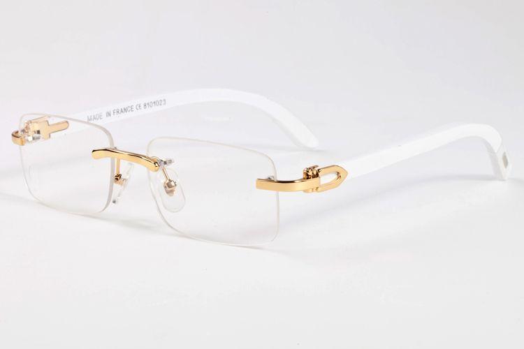New Wood Sunglasses Homens Mulheres Mulheres Branco Búfalo Chifre Óculos Óculos Sem Rimes Moda Mens Sports Original Bamboo Eyewear Oculo de Sol
