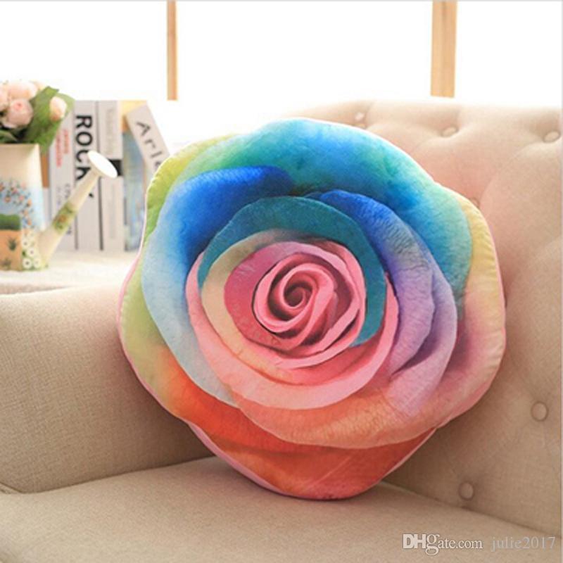 Большой 45 см хлопок 3D розы форма подушки Подушки мягкие офис плюшевые игрушки украшения дома подарок