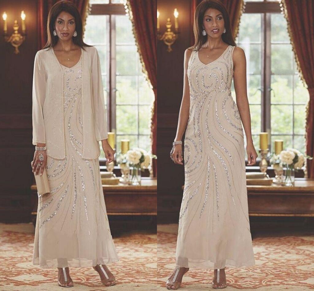 2021 lunghezza della caviglia in chiffon madre della sposa vestito con giacca a manica lunga A-line con scollo a V perline elegante champagne foto reale plus