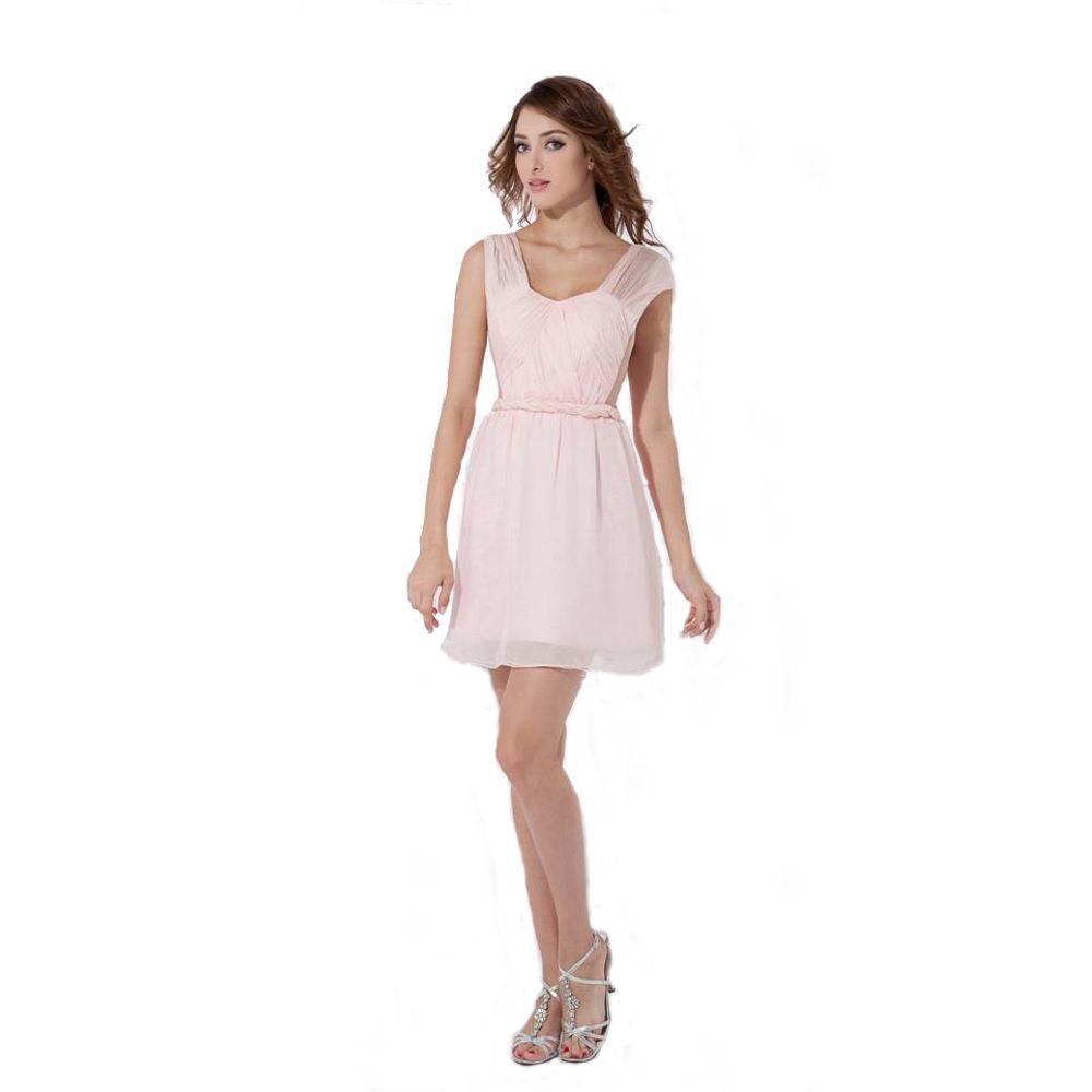 جميلة الكبار اللباس وصيفه الشرف الوردي الشيفون مزدوجة الأشرطة مثير مفتوح الظهر السيدات فستان قصير 2017 جديد