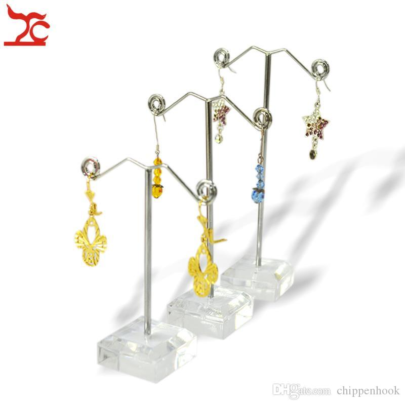 Fashion 3Pcs/lot Clear Acrylic Earring Jewelry Display Holder Stand Metal Stud Earring Rack Frame Holder