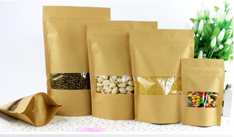 Qin.01.19/9*14+3cm stand up kraft paper candy ziplock bag, 100pcs/lot standing craft paper ormosia packing pouch with wi