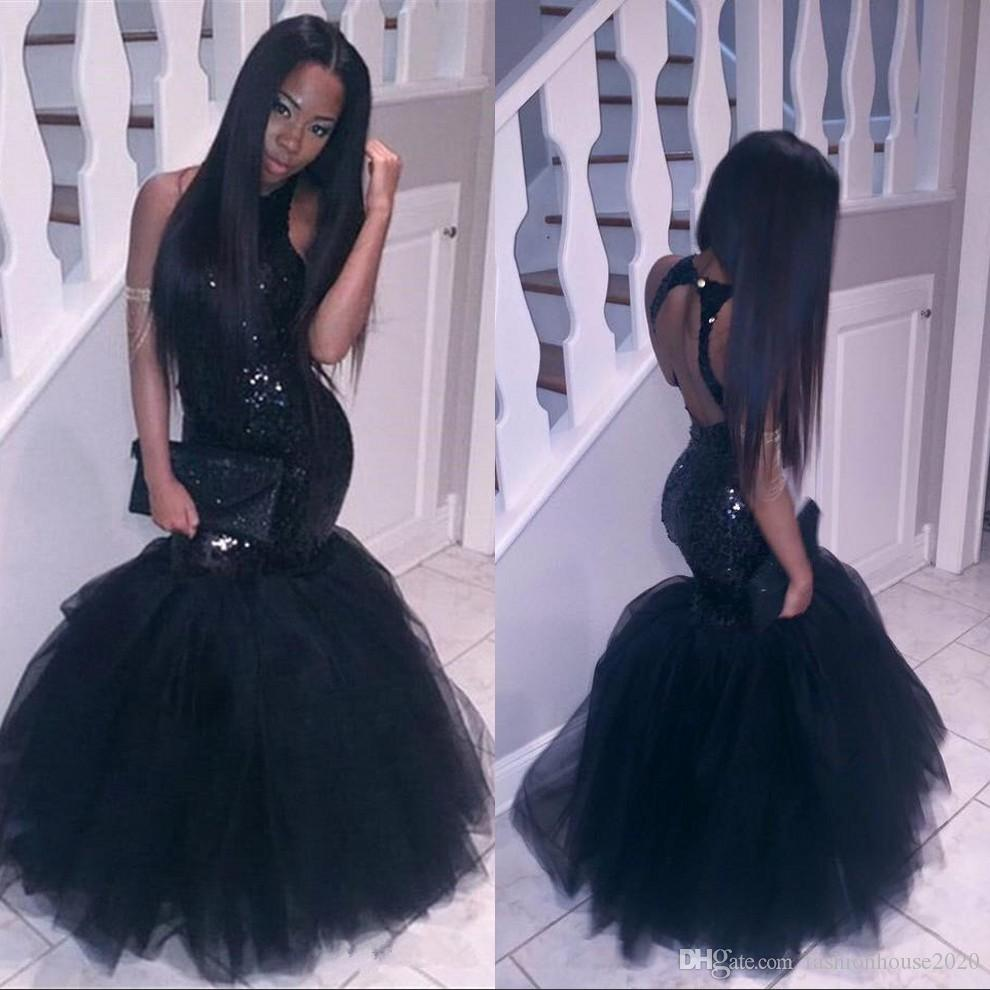 2020 Black Girl Mermaid African Prom Dresses Evening wear Plus Size Long Sequined Sexy Backless Sheath Gowns Cheap Party Homecoming Dress