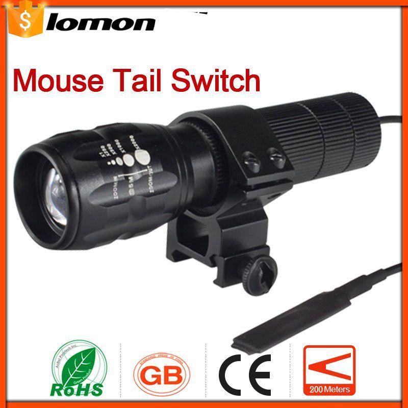 Mini LED Taschenlampe Fernbedienung Maus Schwanz Zoomable LED Taschenlampe Radfahren Fahrrad Jagd + Halter Druckschalter Taschenlampe