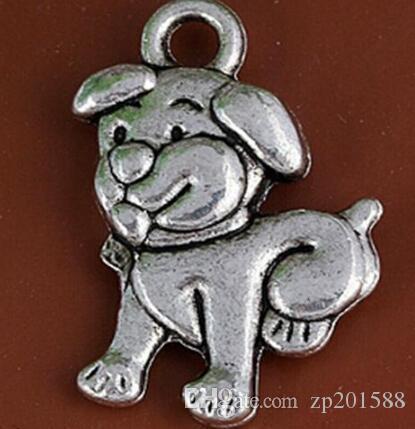 Vintage Silver Прекрасный собак Подвески Подвески для ювелирных изделий женщин платье браслет ожерелье Making девушки Bijoux Аксессуары 120pcs 27
